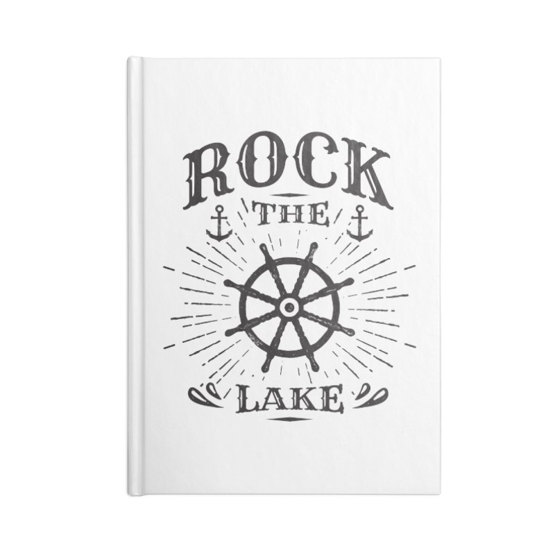 Rock the Lake - Ships Wheel Black Accessories Blank Journal Notebook by Rock the Lake's Shop