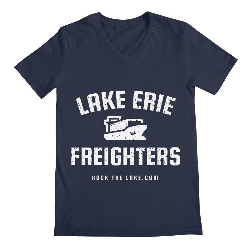 Lake Erie Freighters (alternate) Men's Regular V-Neck by Rock the Lake's Shop
