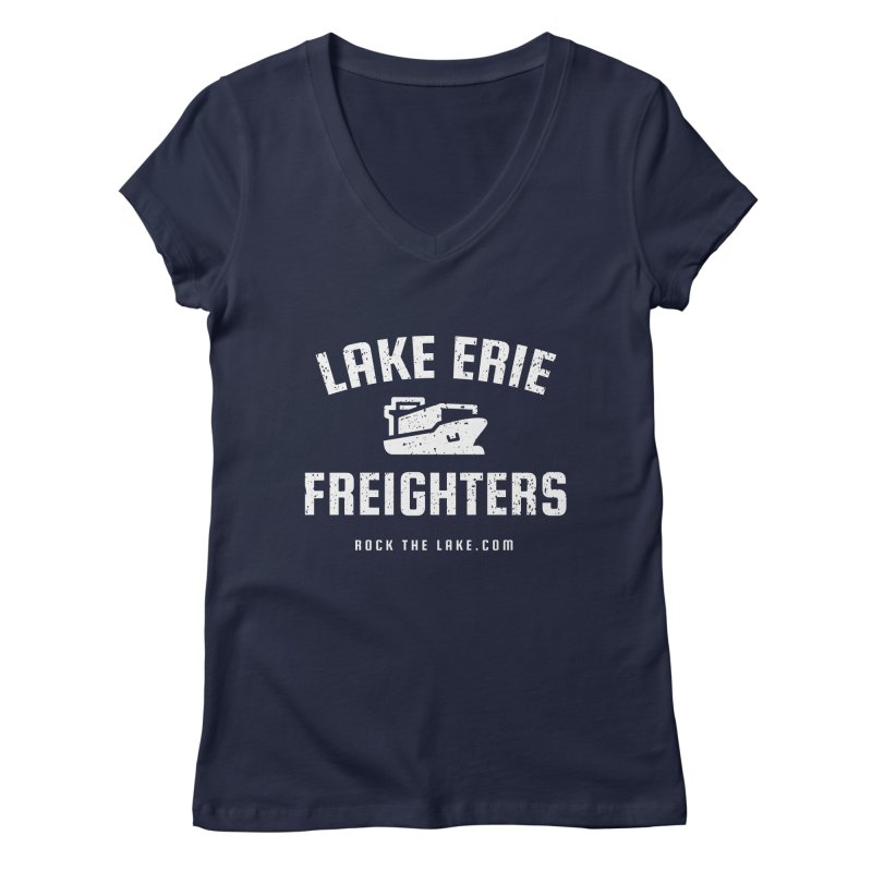 Lake Erie Freighters (alternate) Women's Regular V-Neck by Rock the Lake's Shop