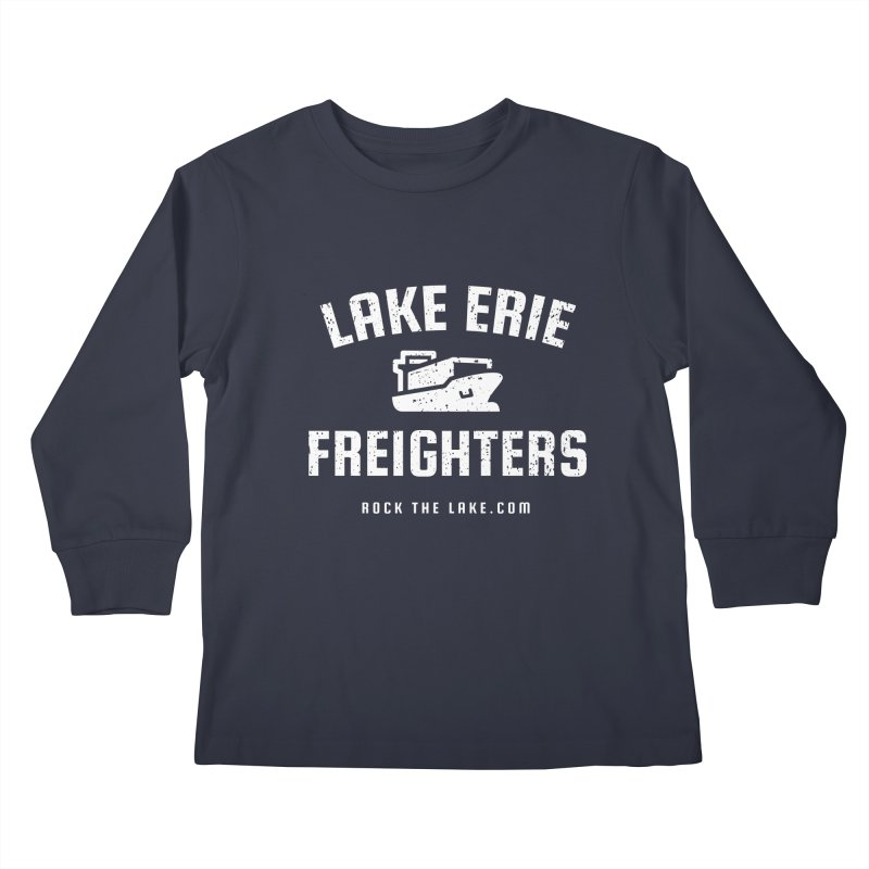 Lake Erie Freighters (alternate) Kids Longsleeve T-Shirt by Rock the Lake's Shop