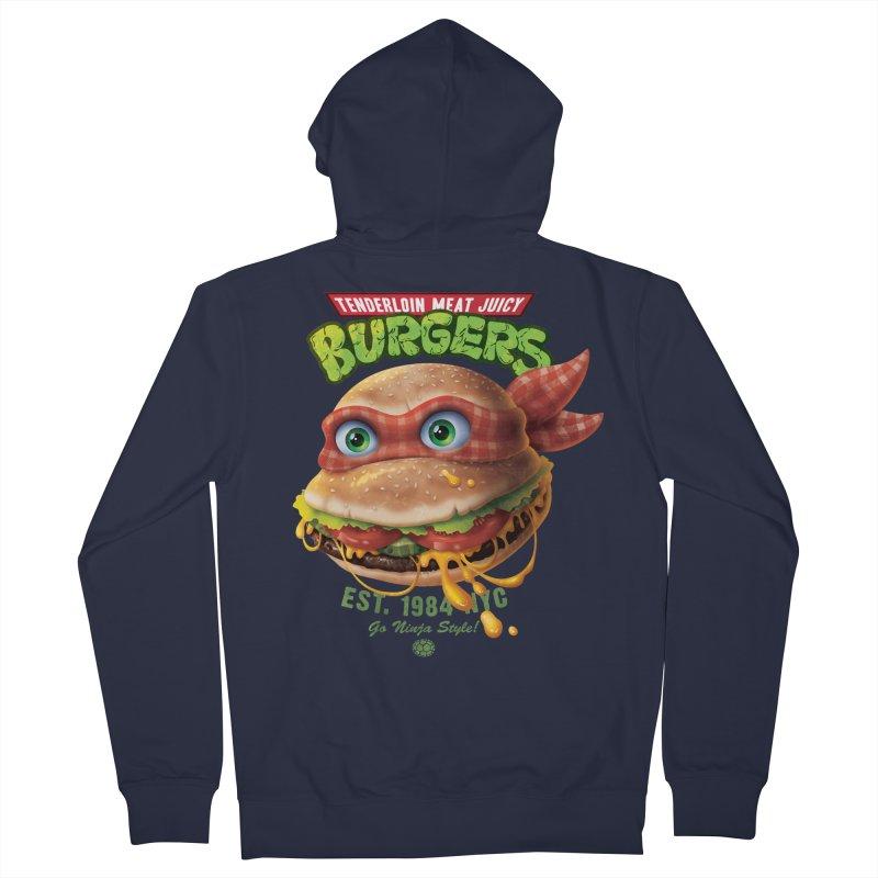 Tenderloin Meat Juicy Burgers Men's Zip-Up Hoody by Rocky Davies Artist Shop