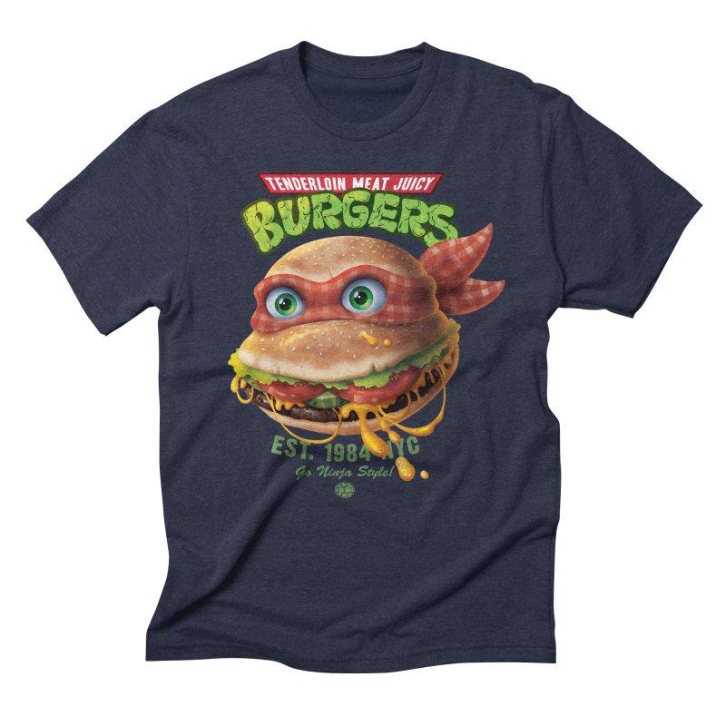 Tenderloin Meat Juicy Burgers Men's Triblend T-Shirt by Rocky Davies Artist Shop