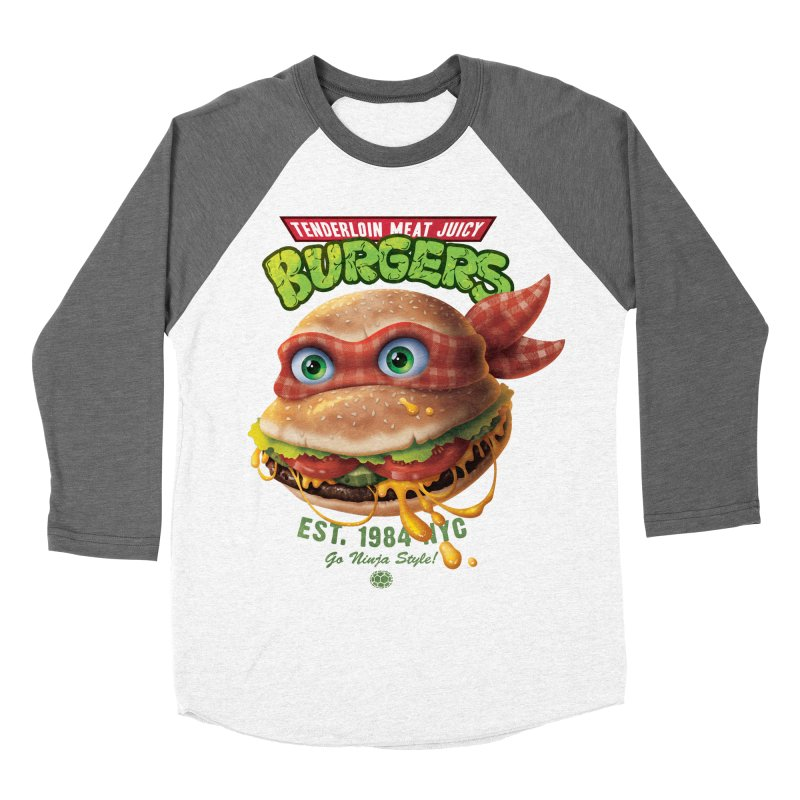Tenderloin Meat Juicy Burgers Men's Baseball Triblend T-Shirt by Rocky Davies Artist Shop