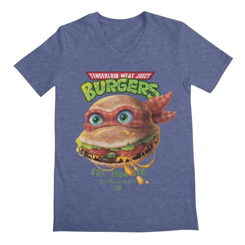 Tenderloin Meat Juicy Burgers Men's V-Neck by Rocky Davies Artist Shop