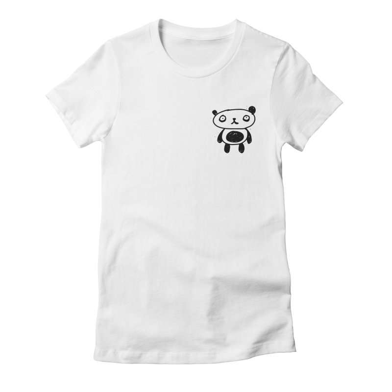 Small lonely panda Women's Fitted T-Shirt by Rodrigo Tello