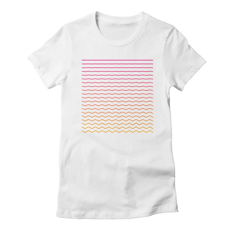 Waves 02 in Women's Fitted T-Shirt White by Rodrigo Tello
