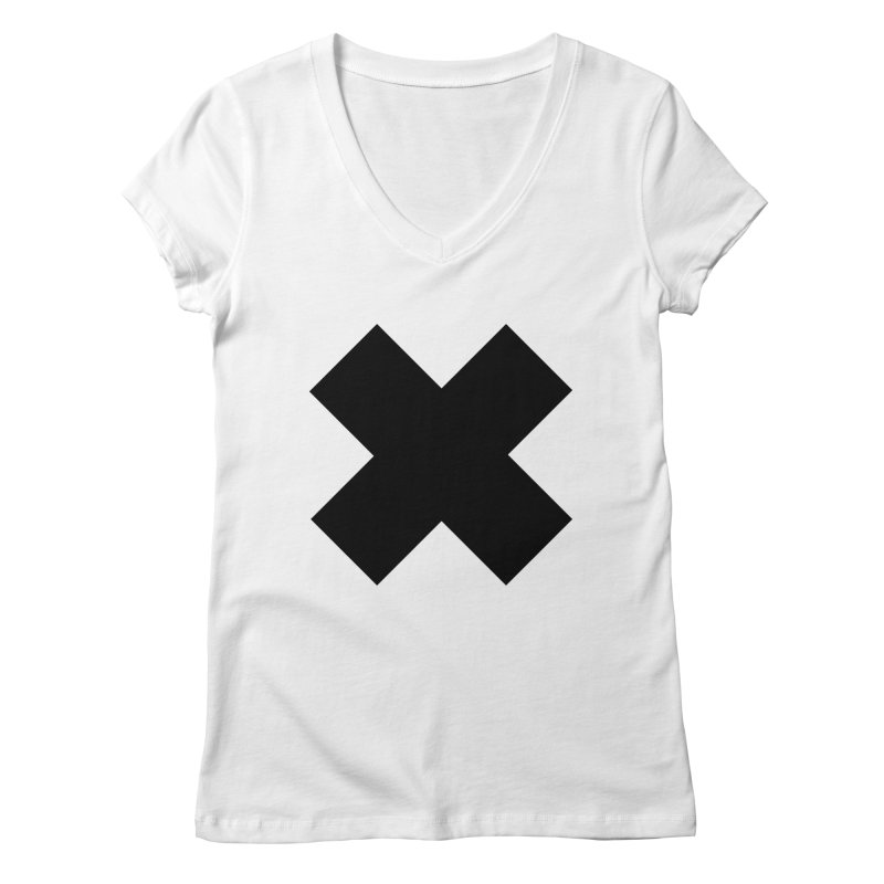 X 02 in Women's Regular V-Neck White by Rodrigo Tello