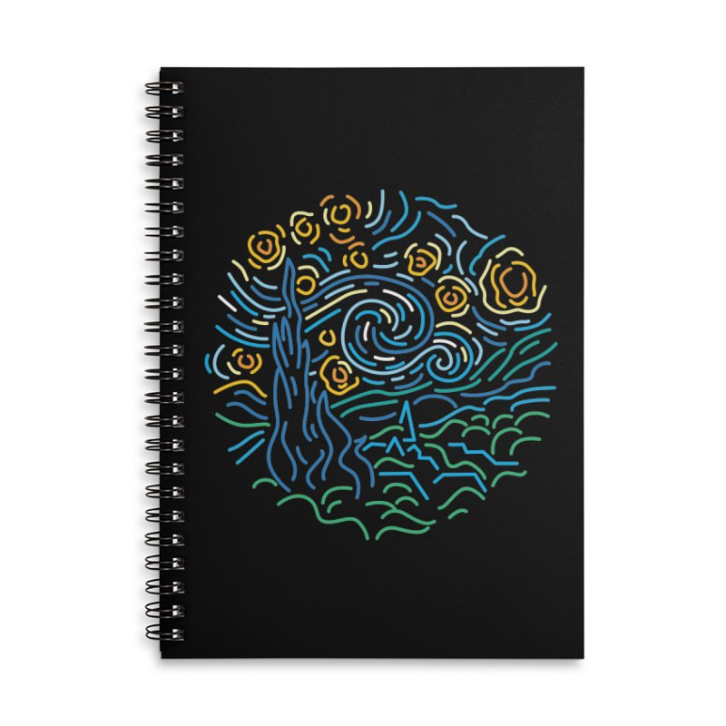 Starry night Accessories Lined Spiral Notebook by Rodrigobhz