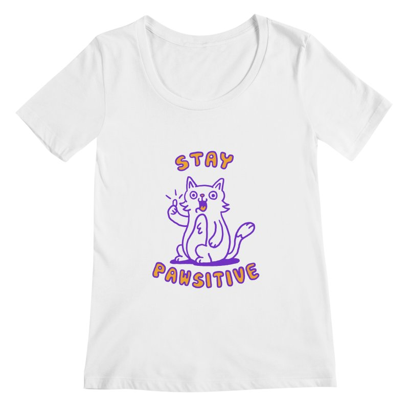 Stay pawsitive Women's Scoopneck by Rodrigobhz
