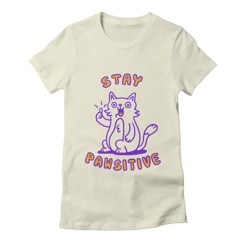 Stay pawsitive Women's Fitted T-Shirt by Rodrigobhz