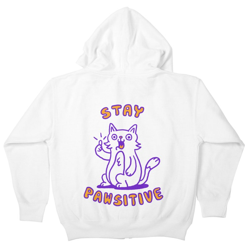 Stay pawsitive Kids Zip-Up Hoody by Rodrigobhz