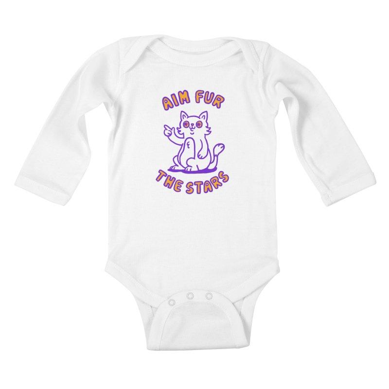 Aim fur the stars Kids Baby Longsleeve Bodysuit by Rodrigobhz
