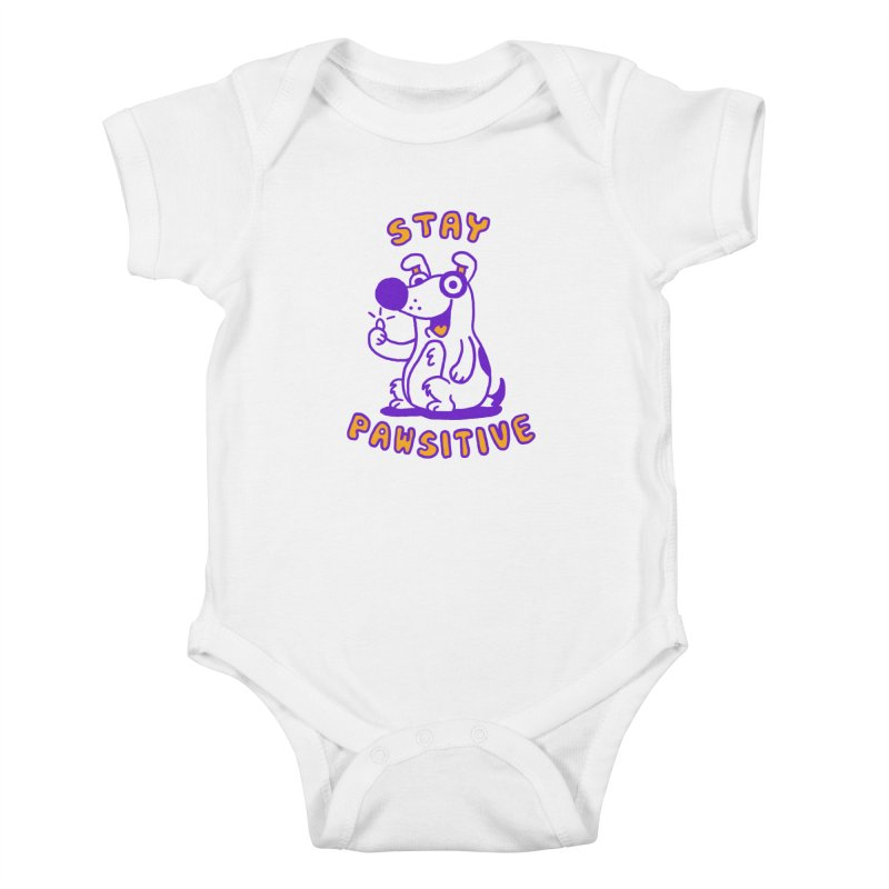 Stay Pawsitive (Dog version) Kids Baby Bodysuit by Rodrigobhz