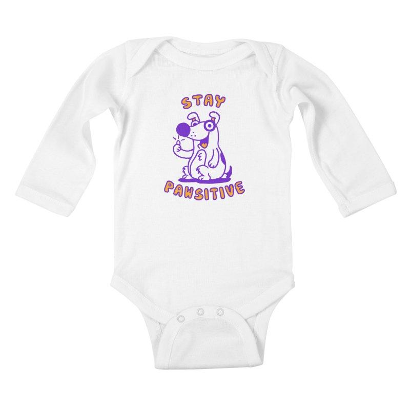 Stay Pawsitive (Dog version) Kids Baby Longsleeve Bodysuit by Rodrigobhz