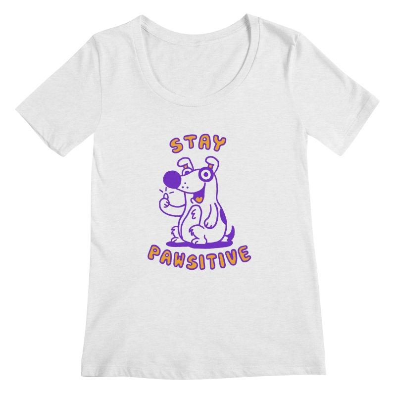 Stay Pawsitive (Dog version) Women's Scoopneck by Rodrigobhz