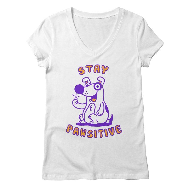 Stay Pawsitive (Dog version) Women's V-Neck by Rodrigobhz