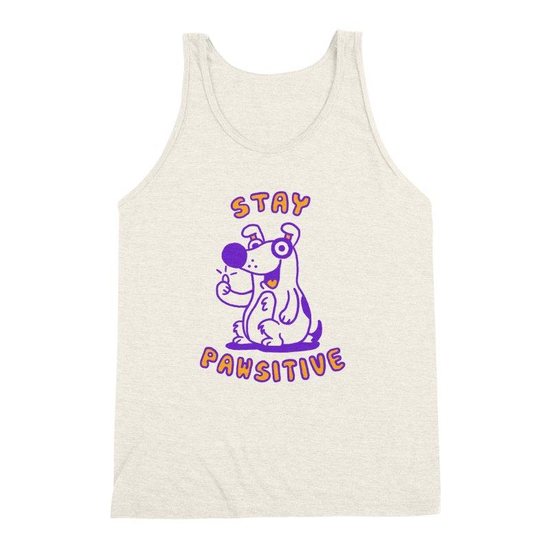 Stay Pawsitive (Dog version) Men's Triblend Tank by Rodrigobhz