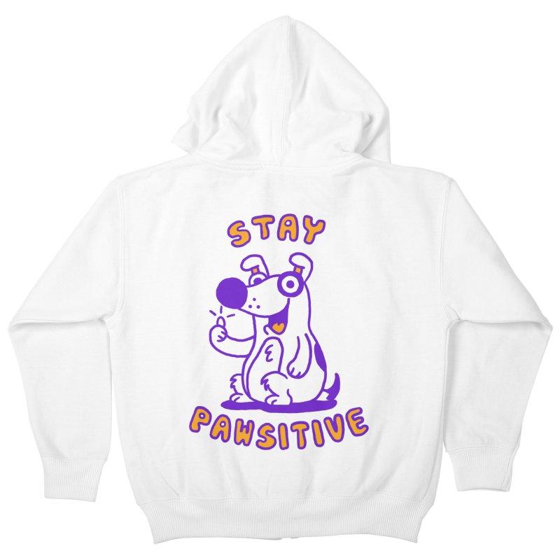 Stay Pawsitive (Dog version) Kids Zip-Up Hoody by Rodrigobhz