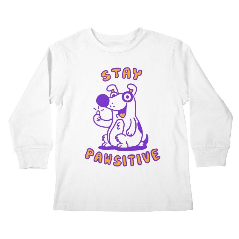 Stay Pawsitive (Dog version) Kids Longsleeve T-Shirt by Rodrigobhz