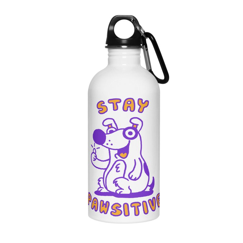 Stay Pawsitive (Dog version) Accessories Water Bottle by Rodrigobhz