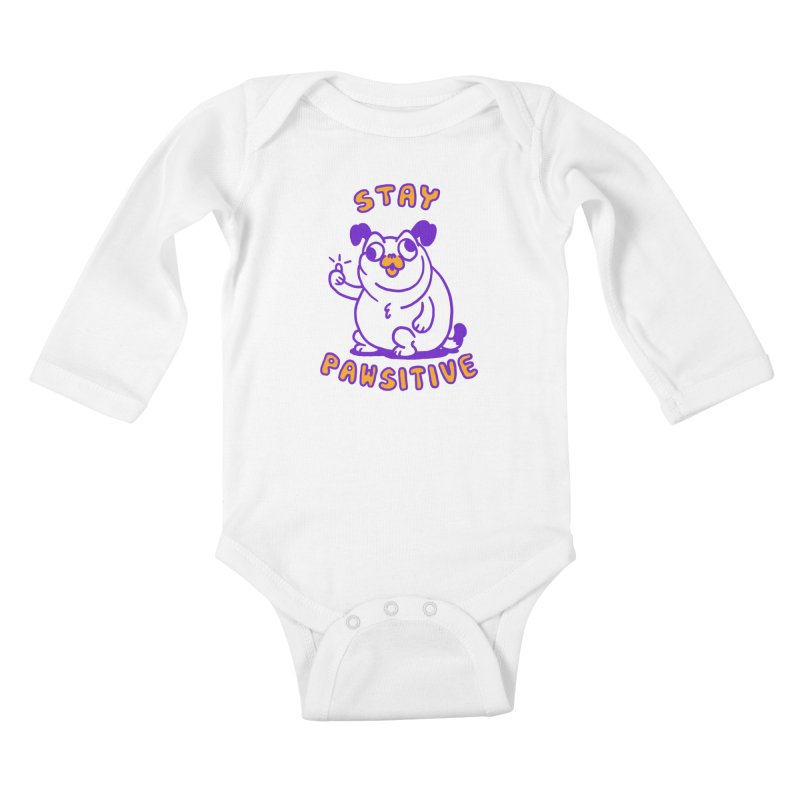 Stay Pawsitive (Dog version) Kids Baby Longsleeve Bodysuit by Rodrigobhz