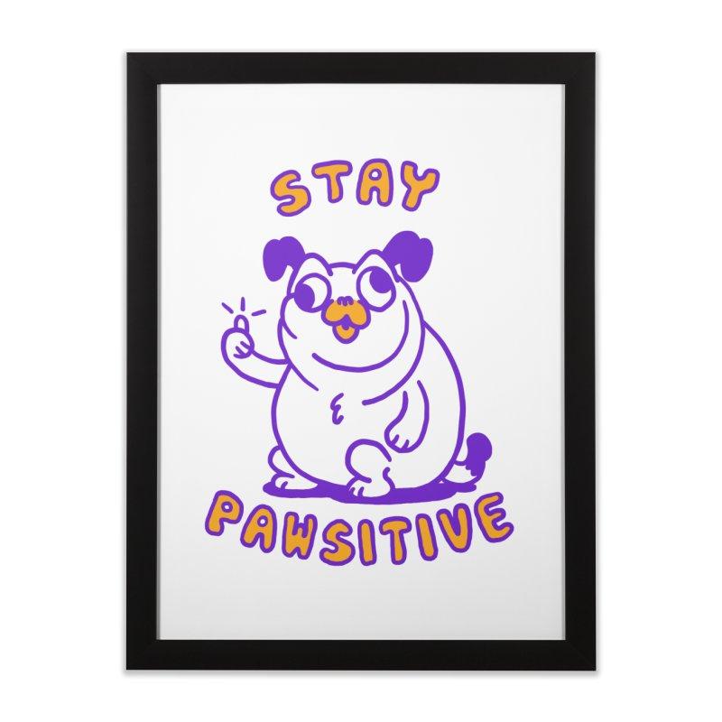 Stay Pawsitive (Dog version) Home Framed Fine Art Print by Rodrigobhz