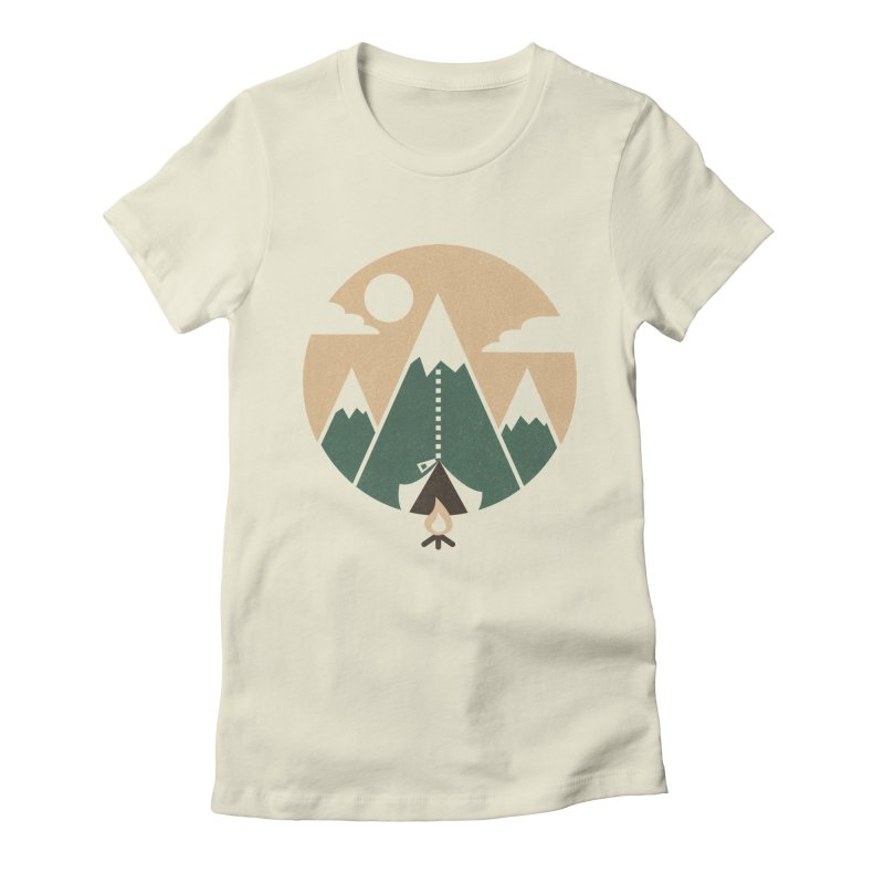 Mountain tent Women's Fitted T-Shirt by Rodrigobhz