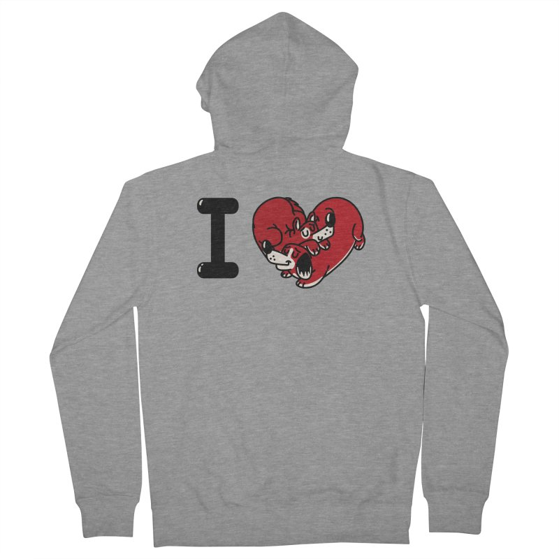 I heart dogs Men's French Terry Zip-Up Hoody by Rodrigobhz