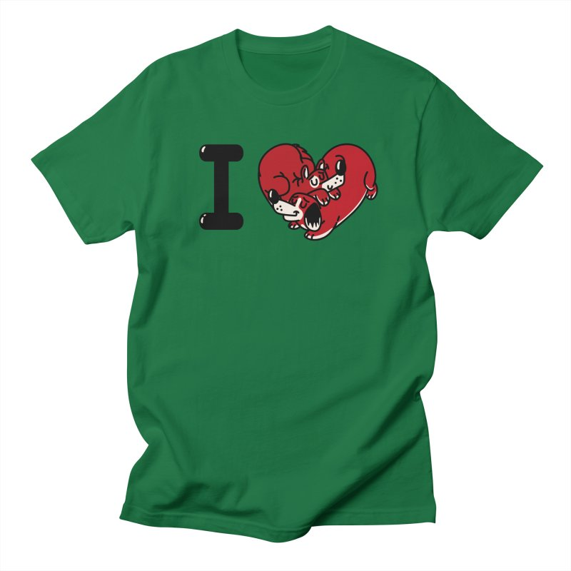 I heart dogs Men's Regular T-Shirt by Rodrigobhz