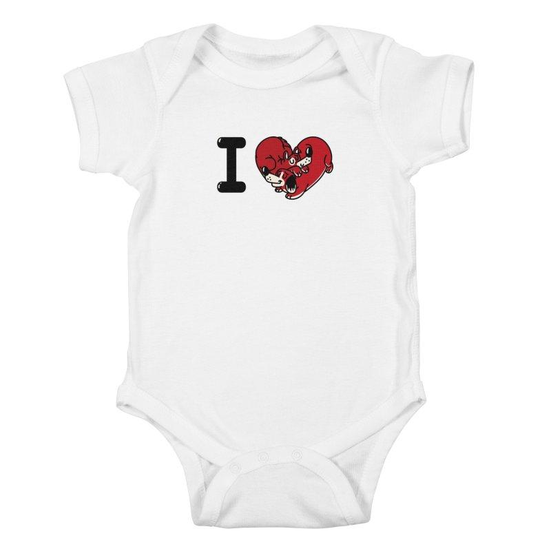 I heart dogs Kids Baby Bodysuit by Rodrigobhz