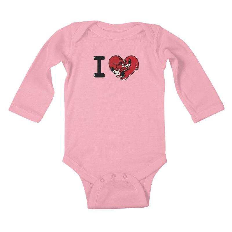 I heart dogs Kids Baby Longsleeve Bodysuit by Rodrigobhz
