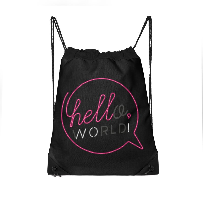 Hello, world! Accessories Drawstring Bag Bag by Rodrigobhz