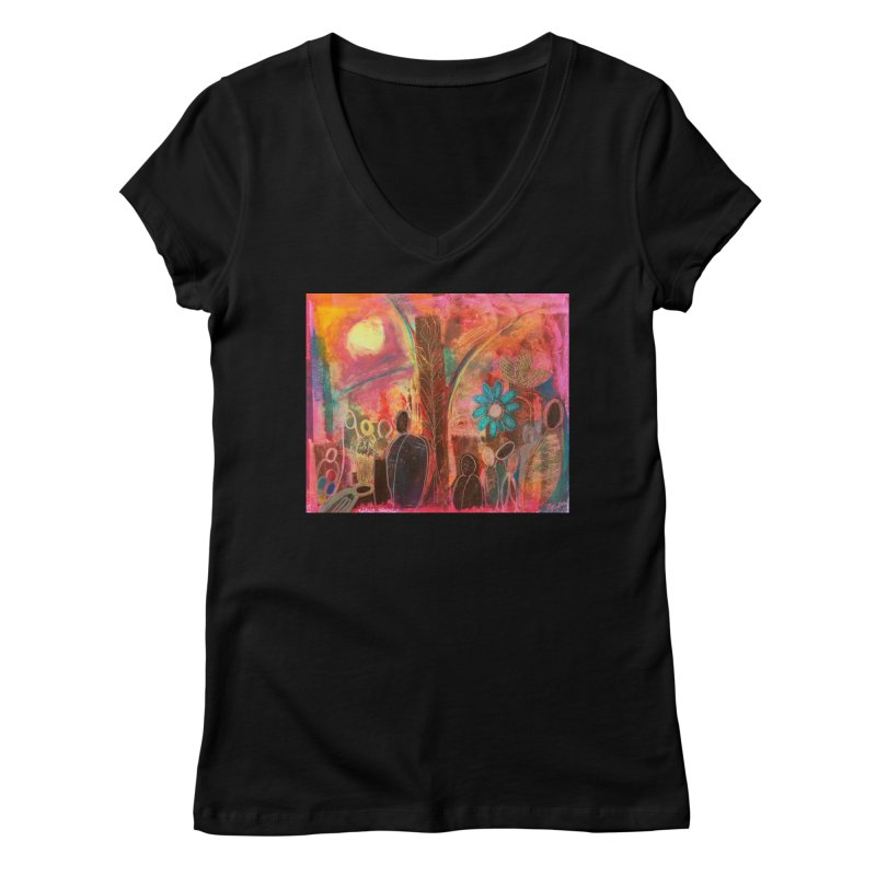 A Beautiful World Women's V-Neck by Art by Roger Hutchison