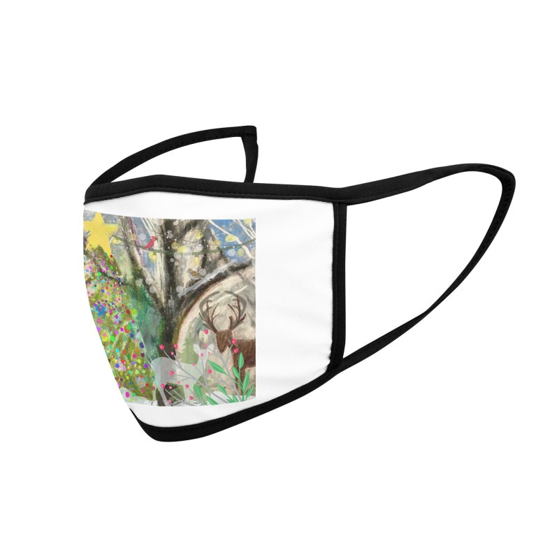 Woodland Christmas Accessories Face Mask by Art by Roger Hutchison