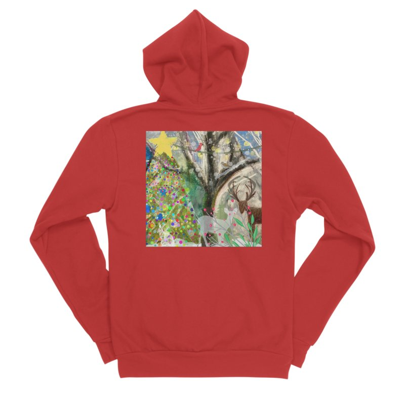 Woodland Christmas Women's Zip-Up Hoody by Art by Roger Hutchison