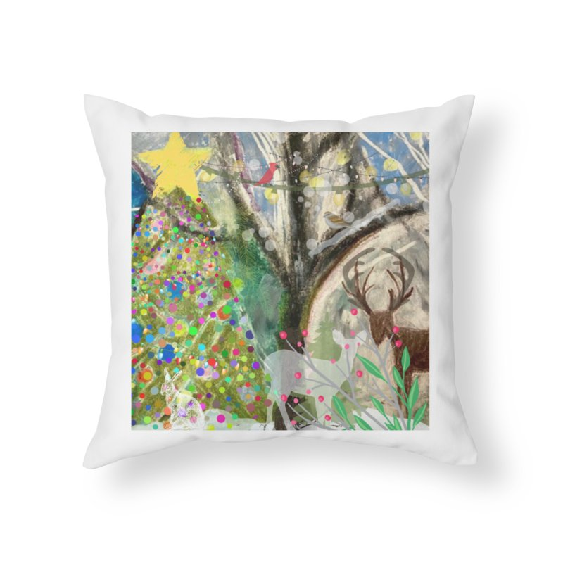 Woodland Christmas Home Throw Pillow by Art by Roger Hutchison