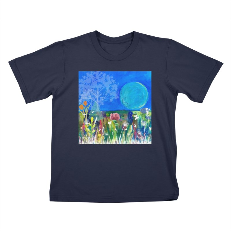 Beneath the Moon Kids T-Shirt by Art by Roger Hutchison