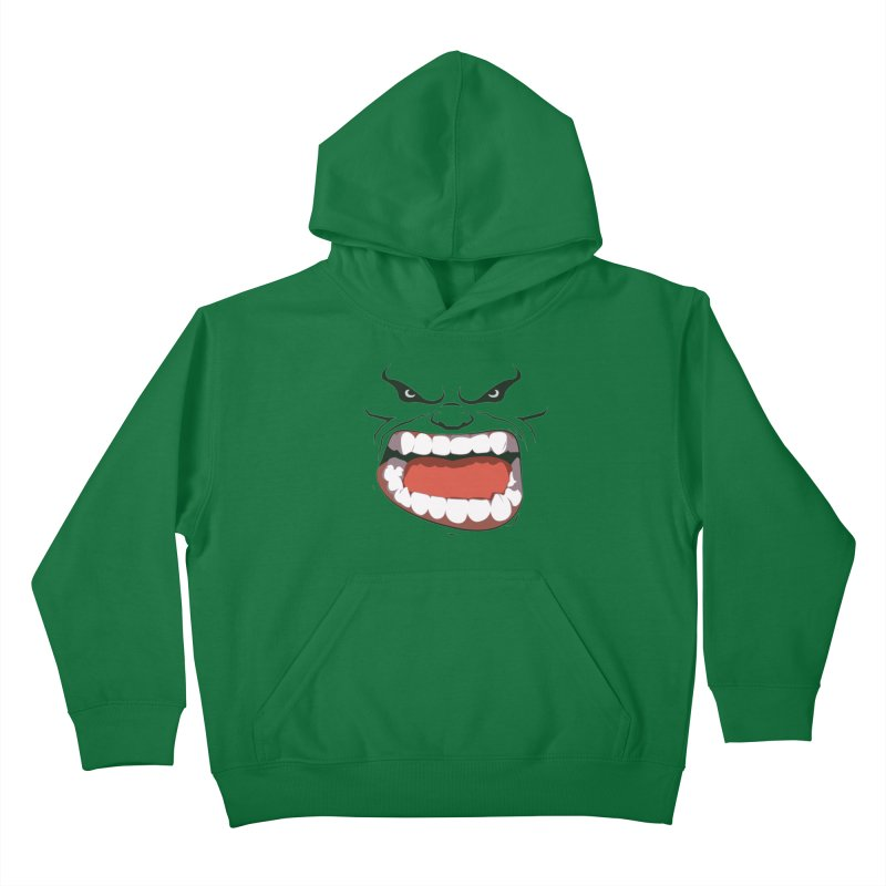 Green and angry Kids Pullover Hoody by RojoSalgado's Artist Shop