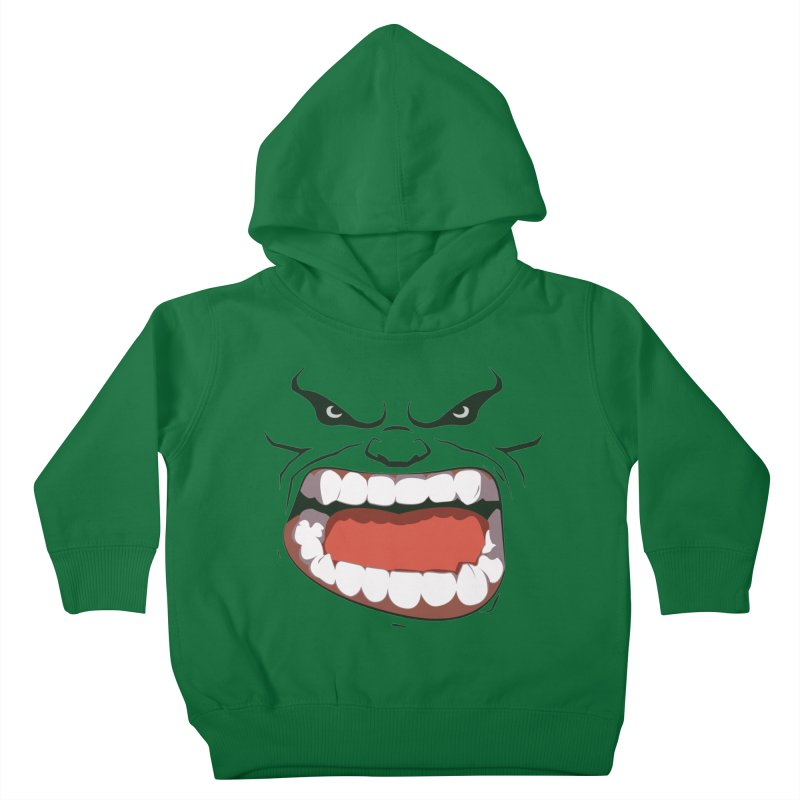 Green and angry Kids Toddler Pullover Hoody by RojoSalgado's Artist Shop