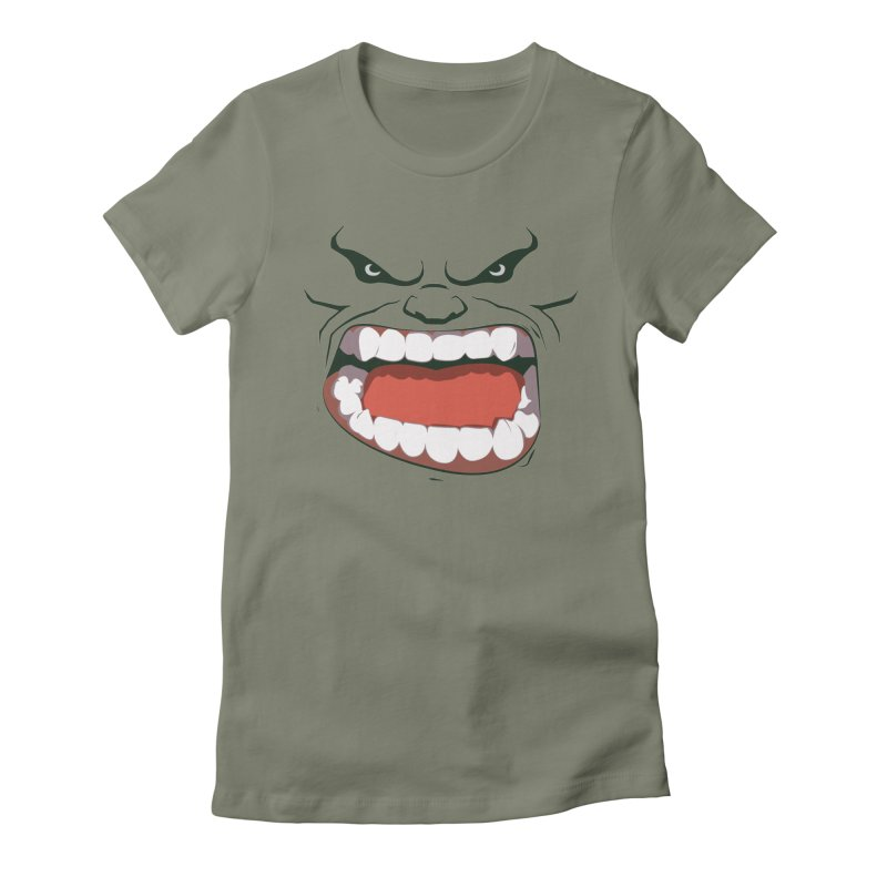 Green and angry Women's Fitted T-Shirt by RojoSalgado's Artist Shop