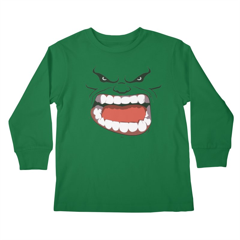 Green and angry Kids Longsleeve T-Shirt by RojoSalgado's Artist Shop