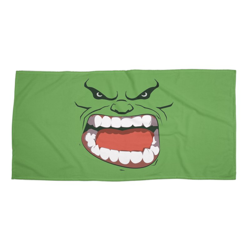 Green and angry Accessories Beach Towel by RojoSalgado's Artist Shop