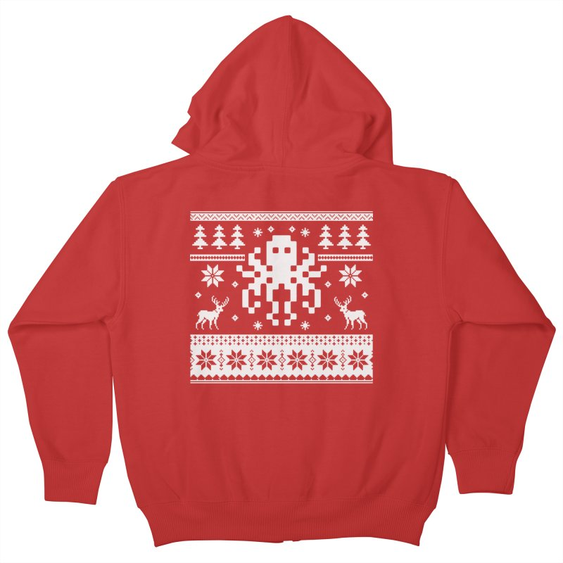 Octugly Christmas Sweater Kids Zip-Up Hoody by RojoSalgado's Artist Shop