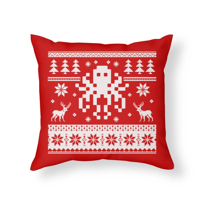 Octugly Christmas Sweater Home Throw Pillow by RojoSalgado's Artist Shop