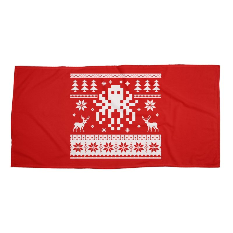 Octugly Christmas Sweater Accessories Beach Towel by RojoSalgado's Artist Shop