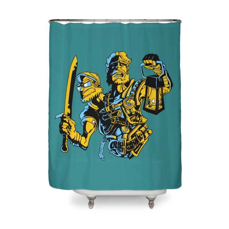 2-Headed Hero Home Shower Curtain by
