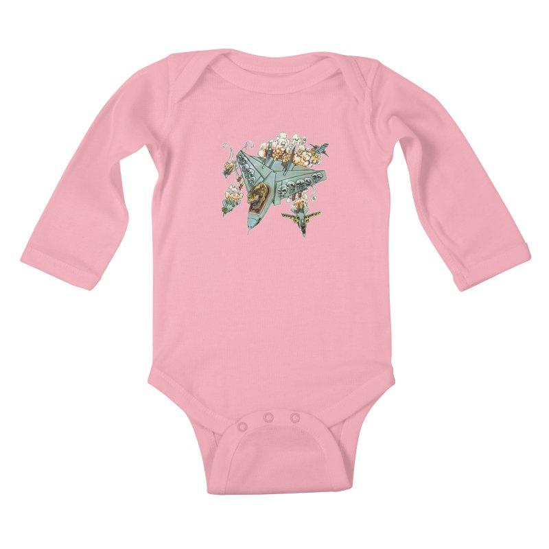 Tyrannosquadron Rocks Kids Baby Longsleeve Bodysuit by