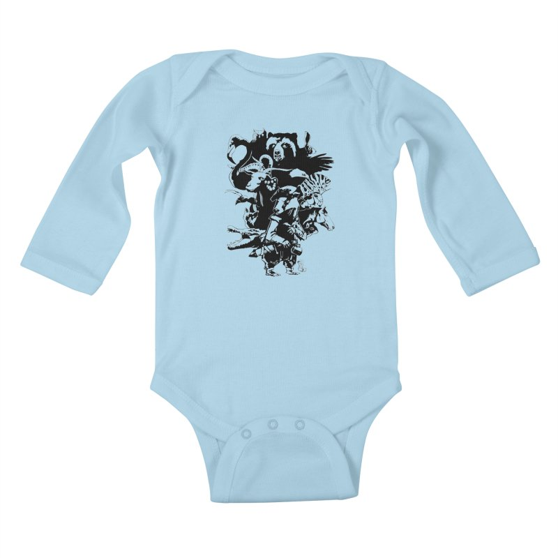 Chunt, King of the Badger (Uncolored) Kids Baby Longsleeve Bodysuit by
