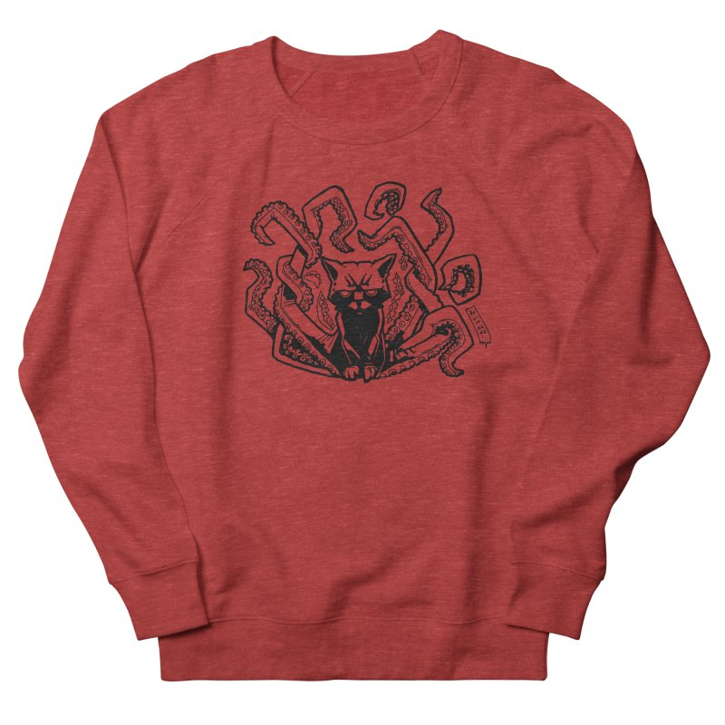 Catthulhu (Uncolored) Men's French Terry Sweatshirt by