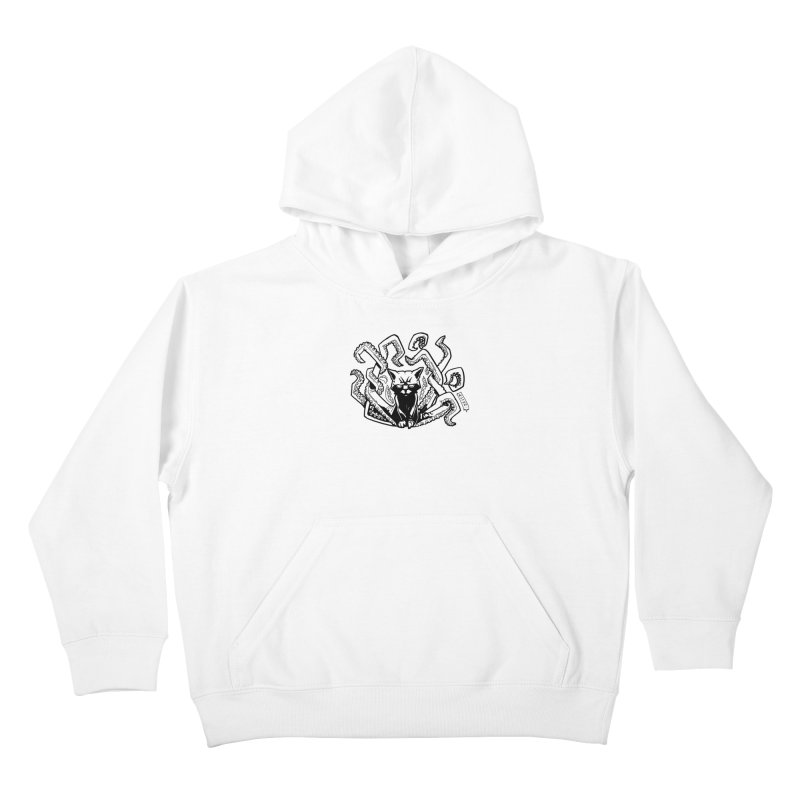 Catthulhu (Uncolored) Kids Pullover Hoody by